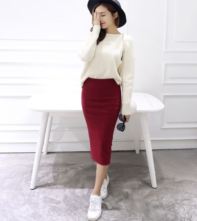 Women Summer skirts Sexy Chic Pencil Skirts Wool Rib Knit Long Skirt Package Hip Split Waist midi skirt maxi