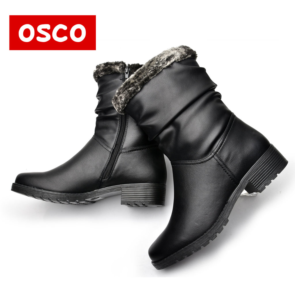 Women Winter Warm Boots PU Leather Snow Boots Round Toe Mid-Calf Fashion Flats Boots