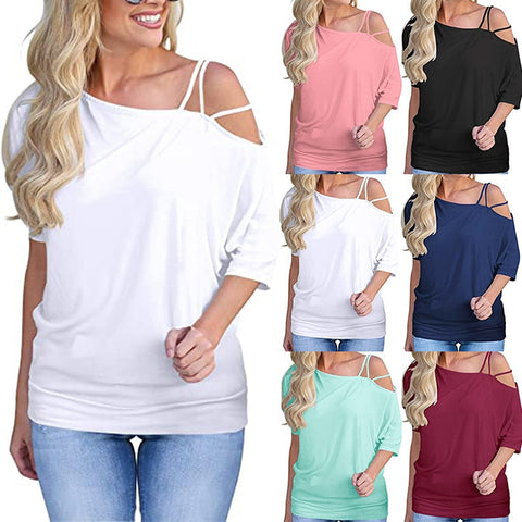 Loose Casual Short T-Shirts Women One Shoulder Off Sexy Cotton T-Shirt Short Sleeve Summer Solid Tops Fashion Clothing