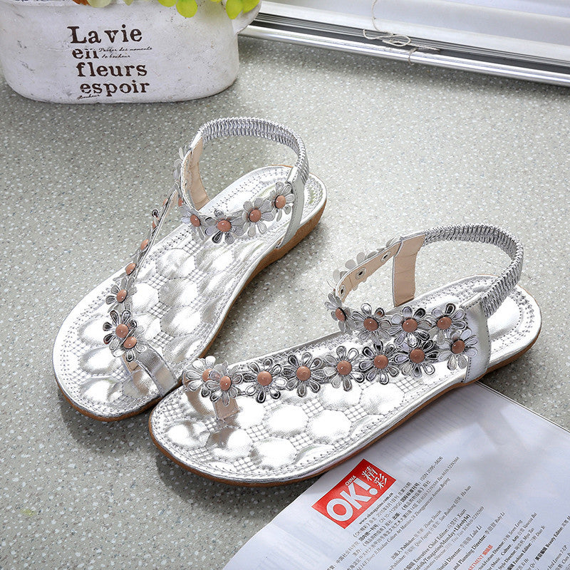 Women Fashion Shoes Flat Summer flower Sandals Comfort Gladiator Flip Flops Classic Beading Shoes