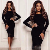 Spring Fashion Velvet Dress With Lace Women Long Sleeve Slim Sheath Bodycon Dresses