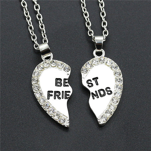 2pcs Love Pendant  Alloy Necklace Fashion Friend Friendship Jewelry for Men Women Unique Personalized Gifts - Style Lavish
