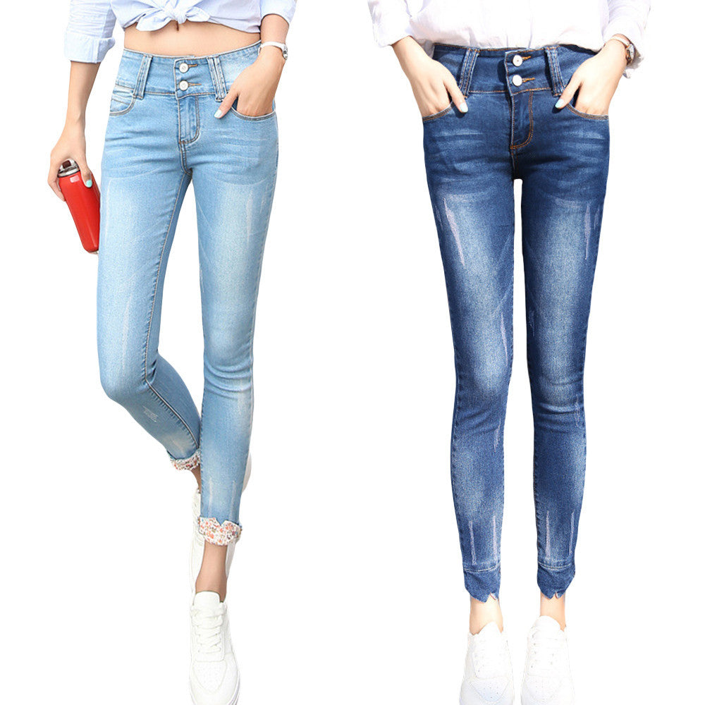 Fashion Women Jeans High-waist Regular  Pencil Pants Casual Skinny Slim Elastic Denim Pants Korean Style  Trousers - Style Lavish