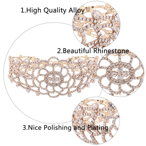 Luxury Hollow Rhinestone Crystal Choker Necklace Elegant Wedding Jewelry Accessories For Women
