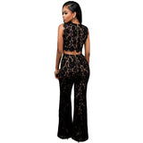 Women Lace Jumpsuit Long Pants Belted Solid Elegant jumpsuits Overalls