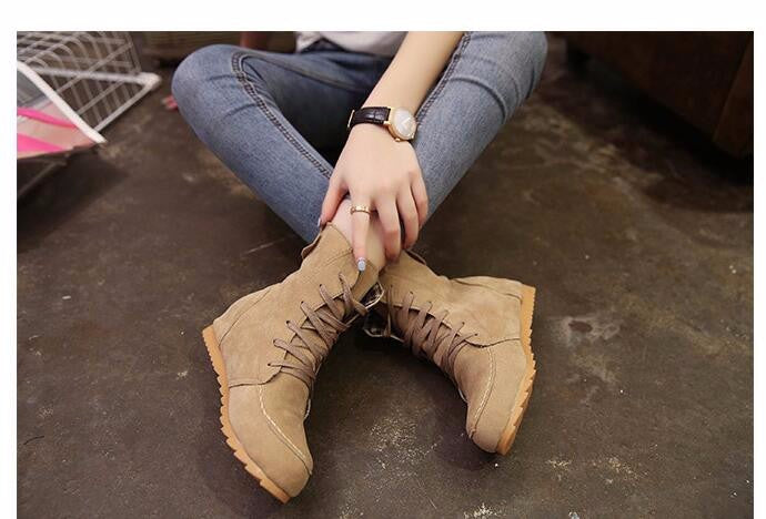 Woman Casual Comfort Autumn Ankle Boots Solid Lace Up Martin Boots Round Toe Flat Shoes