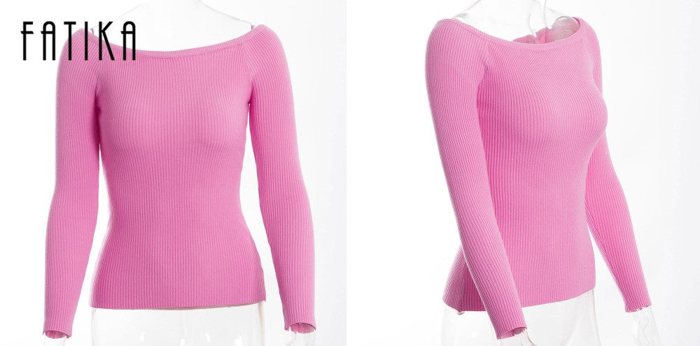Autumn and Winter basic Women Sweater slit neckline Strapless Thickening sweater - Style Lavish