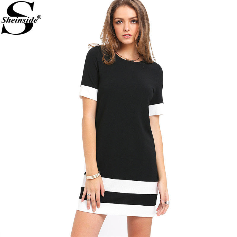 4b7e14f84b2 ... Casual Mini Dresses Summer Style Black White Patchwork Crew Neck Short  Sleeve Shift Dress - Style ...