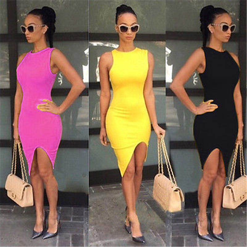 Women Summer Casual Sleeveless Evening Party  Short Mini Dress Fashion