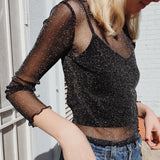 Women Tops Mesh Long Sleeve Transparent T-shirt Casual Tops