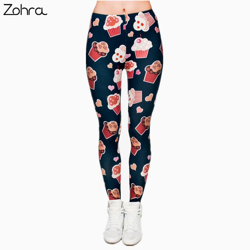 Muffins 3D Graphic Full Printing Women's Clothing teenage fitness Legging Sexy Punk Leggings Pants Workout