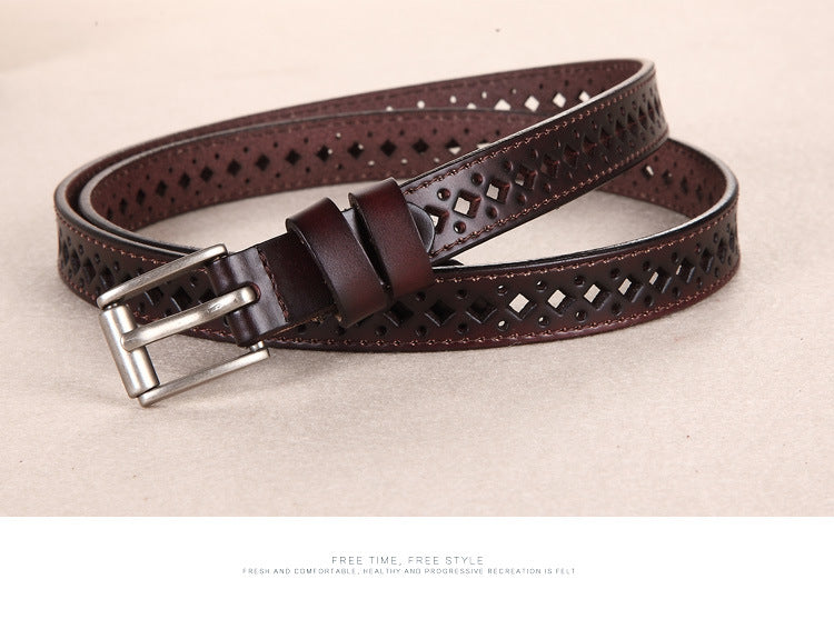 Women belts genuine leather pin buckle vintage style strap