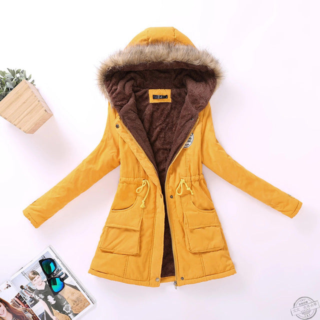 winter military coats women cotton wadded hooded jacket medium-long casual parka thickness quilt snow outwear
