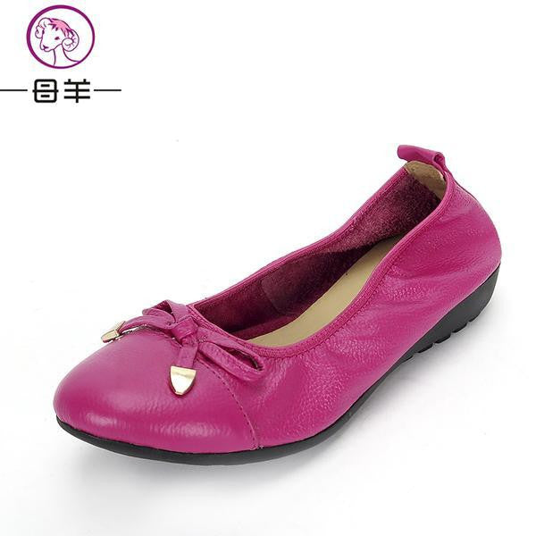 Women Genuine Leather Flat Shoes Woman Handmade Casual Shoes - Style Lavish