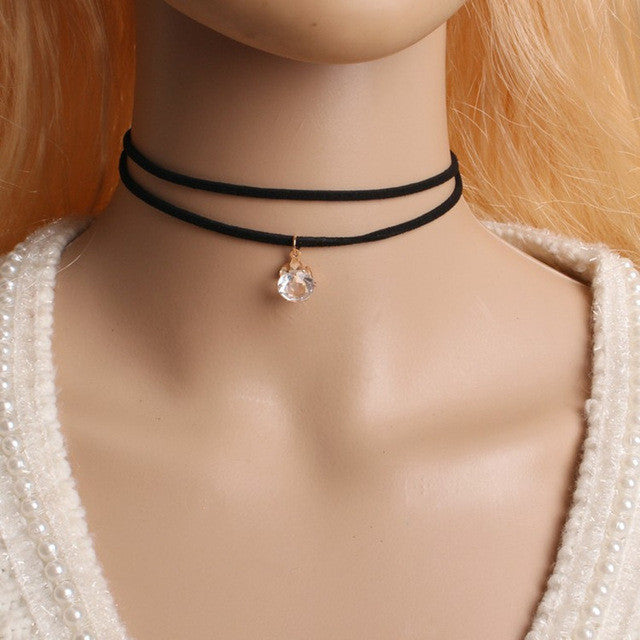 90's Gothic Punk Choker Necklace Black Velvet Suede Steampunk Torques Jewelry Statement Colar - Style Lavish