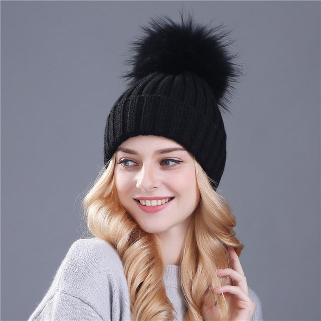 fur ball cap pom poms winter hat for women girl 's hat knitted thick beanies cap