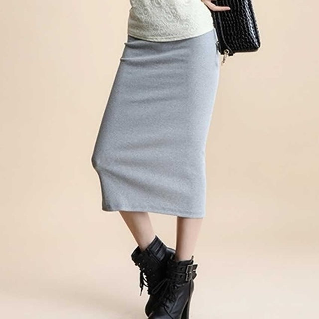 Women Sexy chic Pencil Skirts Women  Wool Rib Knit Long Skirt Package Hip Split Waist midi skirt