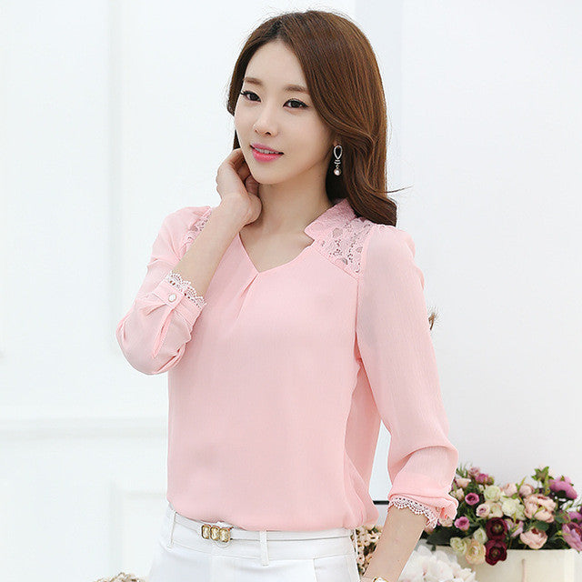 Women Long-sleeved  Solid Chiffon Blouse Shirts Women Fashion Casual Clothing - Style Lavish