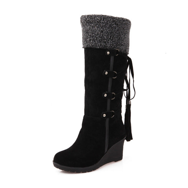 Fashion Scrub Plush  Warm Winter Snow Boots Women Wedges Knee-high Slip-resistant Boots - Style Lavish
