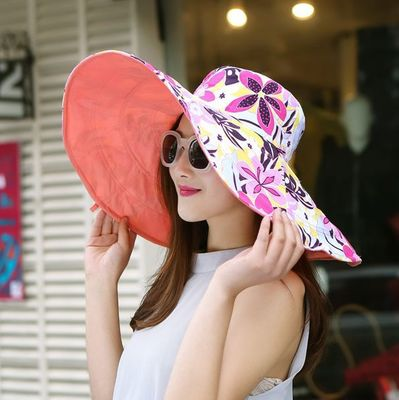 Summer Large Brim Beach Sun Hats For Women UV Protection Caps Hat With Big Head Foldable Style