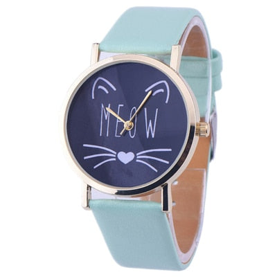 Watches Women Fashion Watch Luxury Cute Cat Pattern PU Leather Band Analog Quartz Vogue Wrist Watch