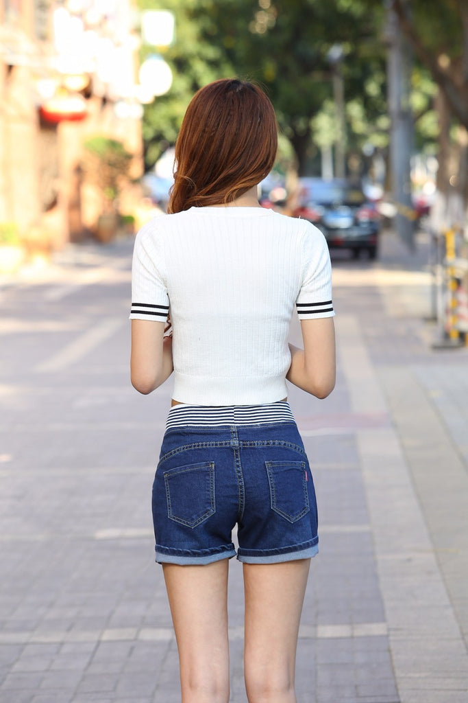 Women Casual High Waist  Denim Shorts Elastic Waist Jeans Shorts