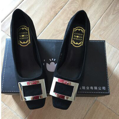 Square toe side buckle shallow mouth shoes small yards women's thick heel single shoes - Style Lavish