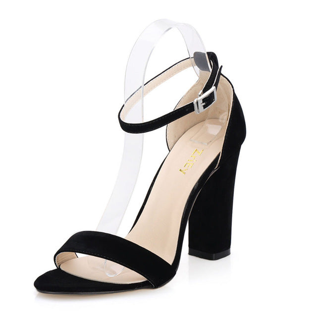 Open Ankle Summer Pumps Women Heel Suede High Toe Straps Heels Thick Sandals vN8nwm0O