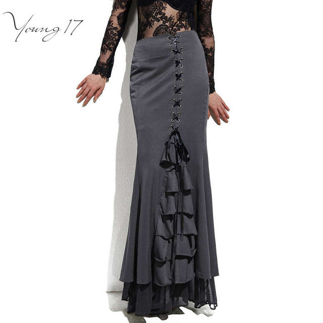 Women Sexy Fishtail Corset Lace-Up Slim Floor-Length Vintage trumpet gothic style Mermaid skirts