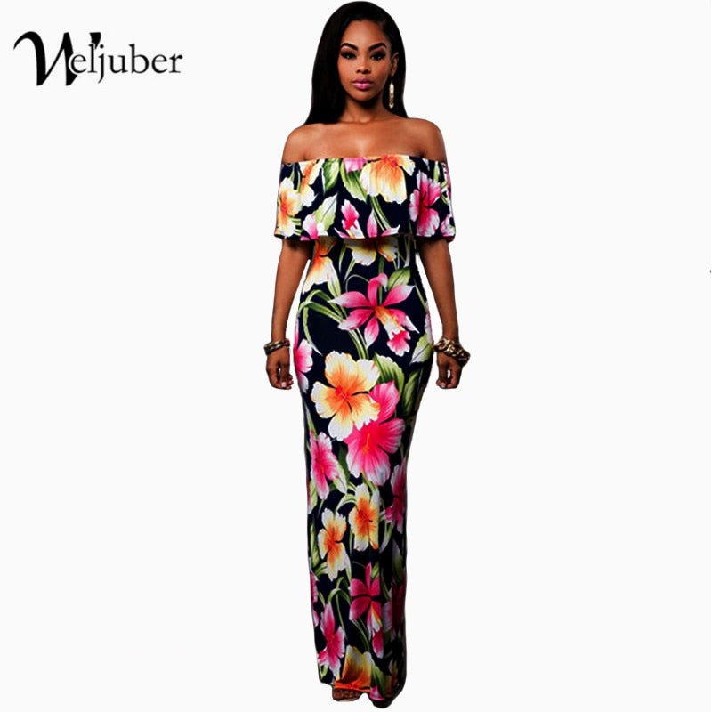 Women Boho Maxi Dress  Spring Summer Style Off Shoulder Ruffled Print Long Dresses Feminine Floor Length Gown