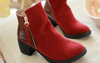 Women Autumn Boots High Heel Zip Pumps Pu Leather Ankle Boots