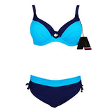 Women Swimwear Sexy Bikini Set Large Cup Push Up Swimsuit Solid Patchwork Maillot