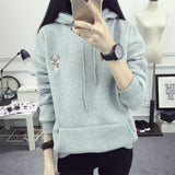 Autumn Winter Hoody Fashion Deer Embroidery Hooded Tracksuits Hoodies for Women Casual Sweatshirts Hoodie - Style Lavish