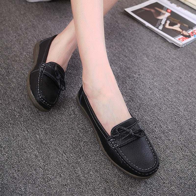 Genuine Leather  Loafers Slip On Women's Flat Shoes - Style Lavish