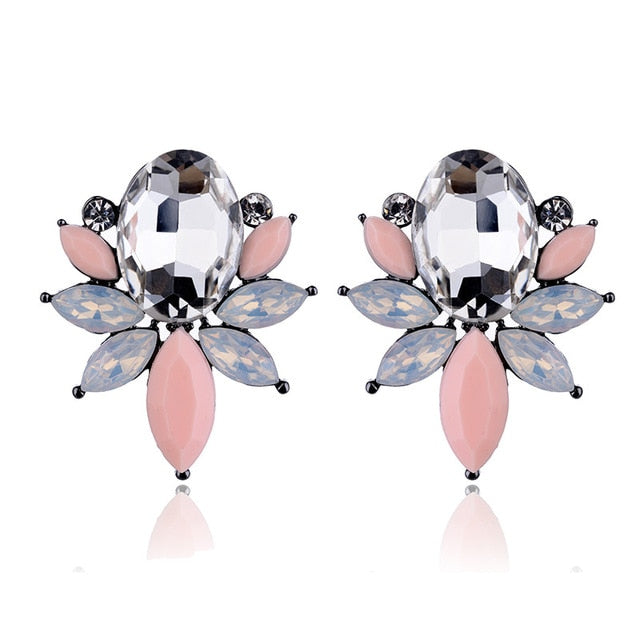 Crystal Opal Stone Stud Earrings Golden Fish Design Trendy Women Jewelry - Style Lavish