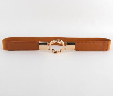 Fashion women's belt elastic waistband gold circle buckle small belts strap - Style Lavish
