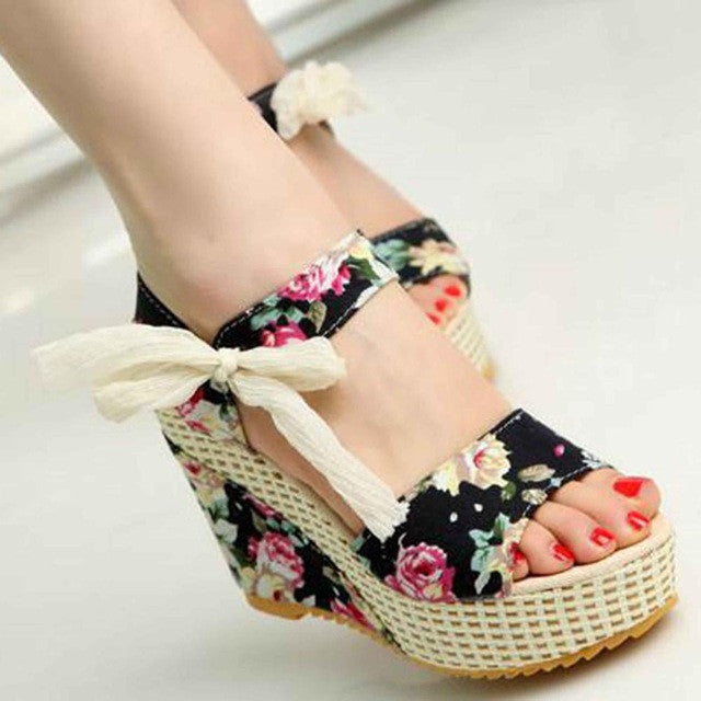 Women Summer New Sweet Flowers Buckle Open Toe Wedge Floral high-heeled Shoes Platform Sandals - Style Lavish