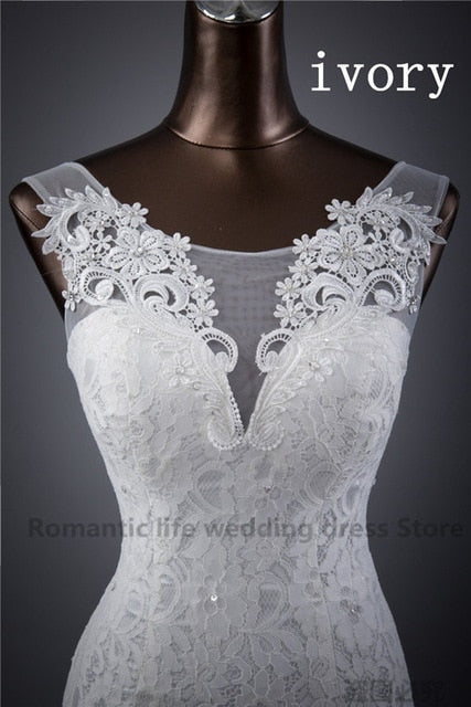 Elegant beautiful lace flowers mermaid Wedding Dresses Bridal Dress