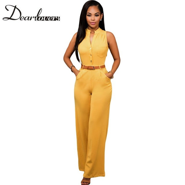Womens Jumpsuit Summer Overalls Sleeveless Belted Wide Leg Jumpsuit