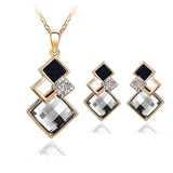 Women Jewelry Sets Fashion Big Square Austrian Crystal Necklace Earrings Set Wedding Jewelry Gift