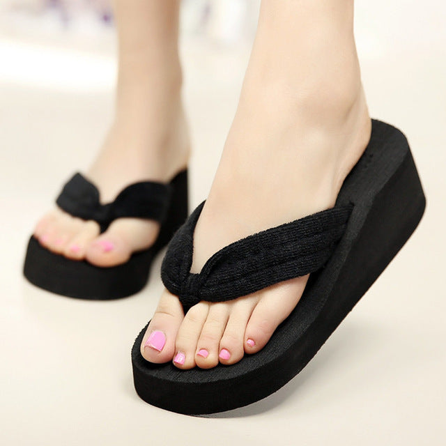 Women Flip Flops Summer Wedges Platform Slippers Beach Shoes Thick Heel Sandals