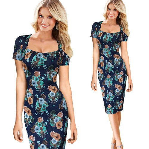 Womens Elegant Vintage Floral Flower Print Square Neck Pinup Casual Party Pencil Sheath Summer Dress - Style Lavish