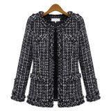 Autumn Winter Women Jacket Slim Thin  Checkered Tweed Coat Large size Casual O-Neck Plaid Jacket With Pocket Loose Outwear - Style Lavish