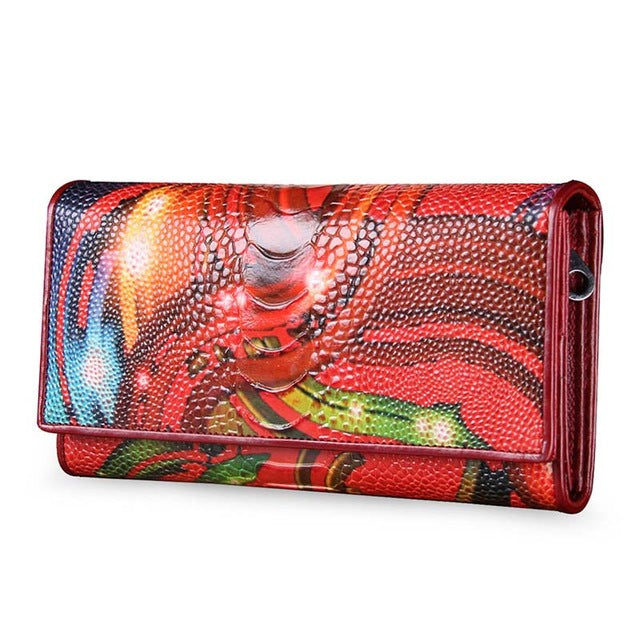 Fashion Leather Women Wallet Vintage Flower Printed Ostrich Red Wallets Long Clutches With Coin Purse Card Holder - Style Lavish