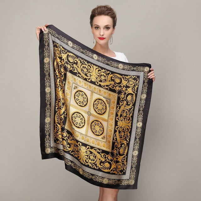Black Gold Square Scarves Fashion Ladies Pure Silk Scarf Shawl Autumn Winter Mulberry Silk Scarves - Style Lavish