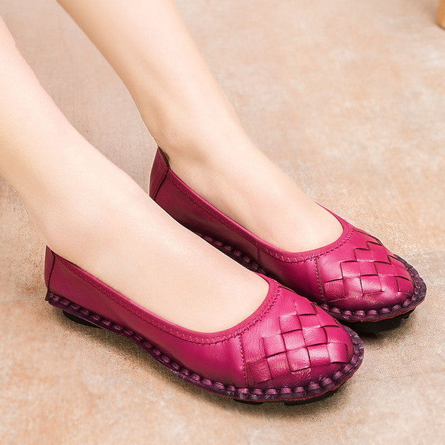 New Fashion Genuine Leather Handmade Women Shoes Comfortable Casual Flat Loafers - Style Lavish