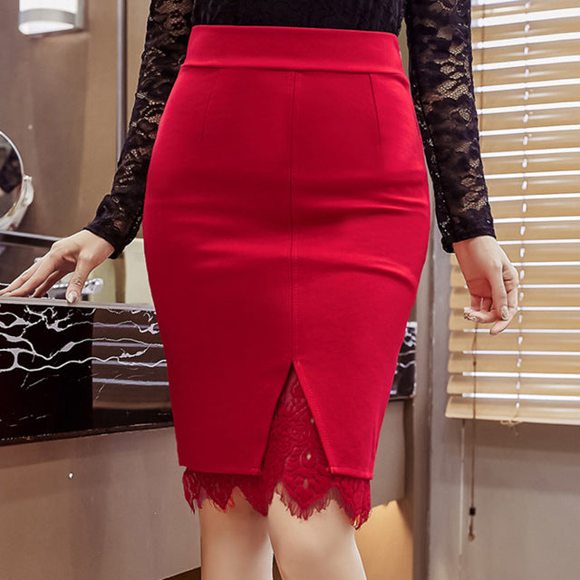 Women Fashion Spring Skirts Slim High Waist Sexy Lace Embroidery Skirt Open Slit Elegant  OL skirt