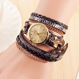 Fashion Retro Leather Quartz Watch Women Dress Weave Bracelet Watches - Style Lavish