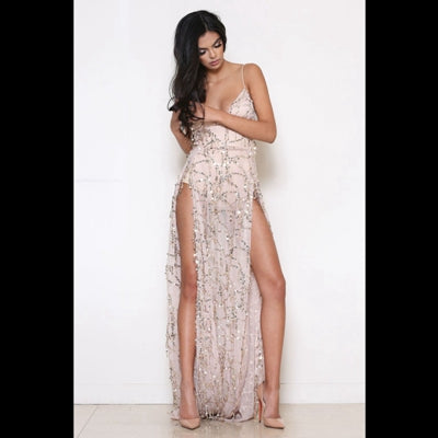 Summer Style Elegant Dress Spaghetti Strap Backless Side Split Tassel Sequined Maxi Dress Prom