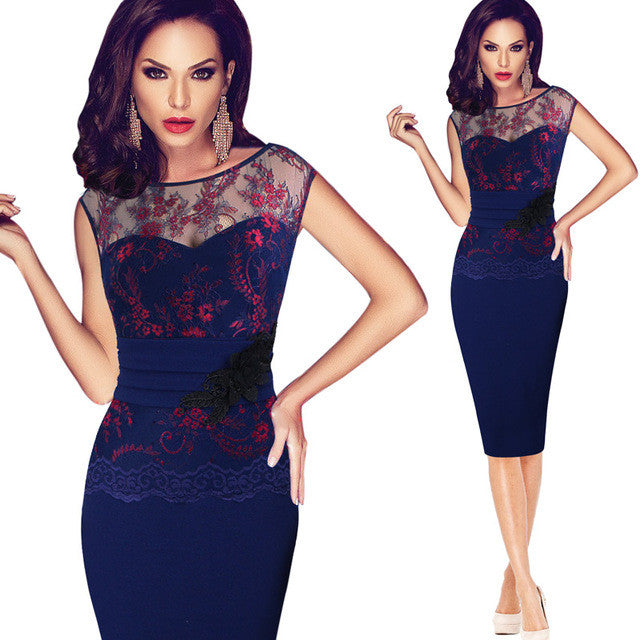 Women Sexy embroidered Floral Lace  Party Evening Bridesmaid Mother of Bride Embroidery Dress - Style Lavish